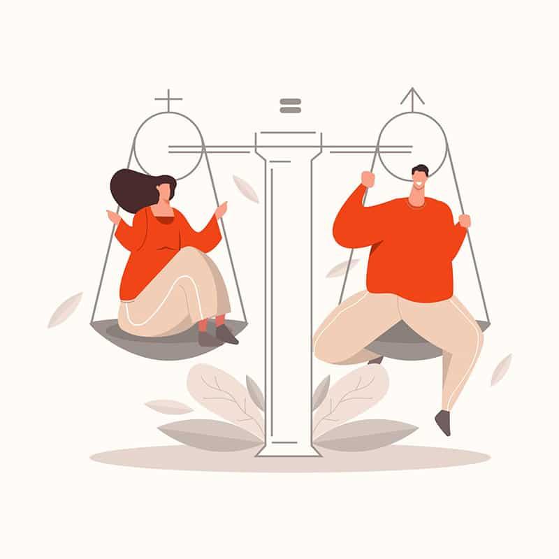 mansplaning - imagem mostrando uma balança e o peso igual de uma mulher e de um homem, simbolizando igualdade de generos