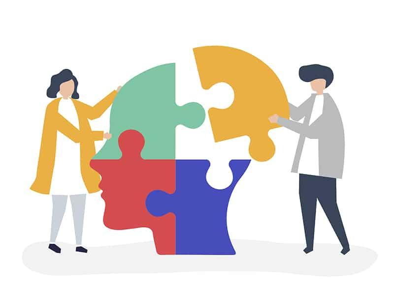 teste de personalidade - ilustração de pessoas montando um quebracabeça em formato de uma cabeça de pessoa.
