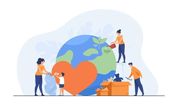 Trabalho voluntário - ilustração do mundo e de diversas pessoas fazendo atos de caridade, como ajudar com plantio de arvores, doar e brincar com crianças de abrigos infantis