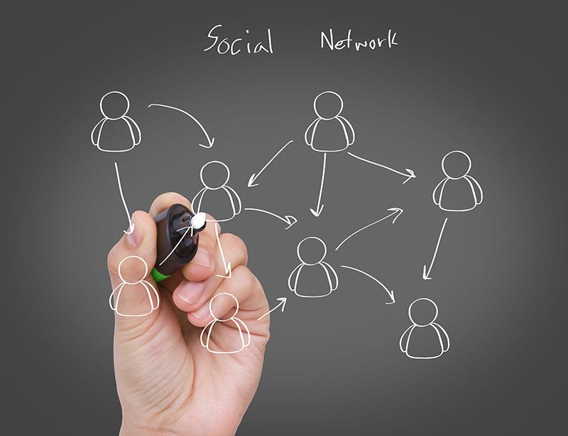 Networking Profissional - mão desenhando relações sociais entre pessoas