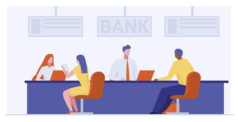 jovem aprendiz bradesco - atendentes de banco ajudando clientes