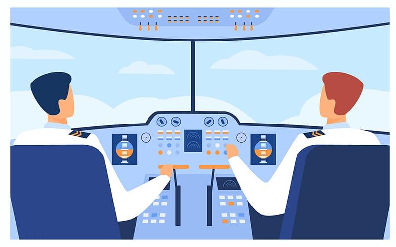 jovem aprendiz latam - ilustrador de dois pilotos de avião